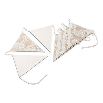 Cream Linen Floral Bunting Garland - 2m Boho Wedding Decoration