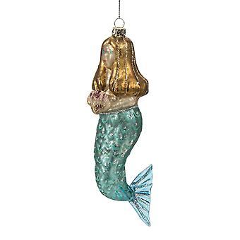 Blue Eyed Mermaid Holding Seashell Glass Christmas Holiday Ornament
