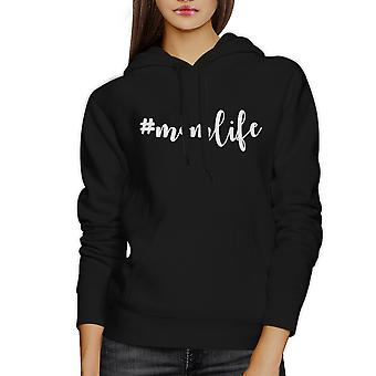 Momlife Black Unisex Cute Fleece Hoodie Cute Gift Idea For New Moms