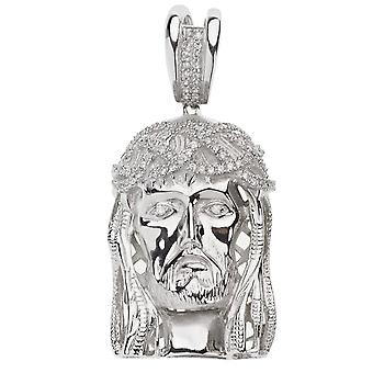 925 Iced Out Sterling Silber Anhänger - JESUS HEAD