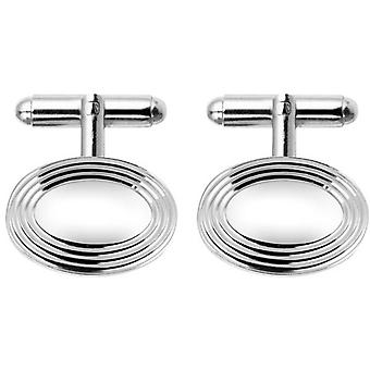 Orton West Rhodium Plated Oval Centre Cufflinks - Silver