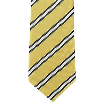 Michelsons of London Classic Stripe Silk Tie - Yellow/White/Navy