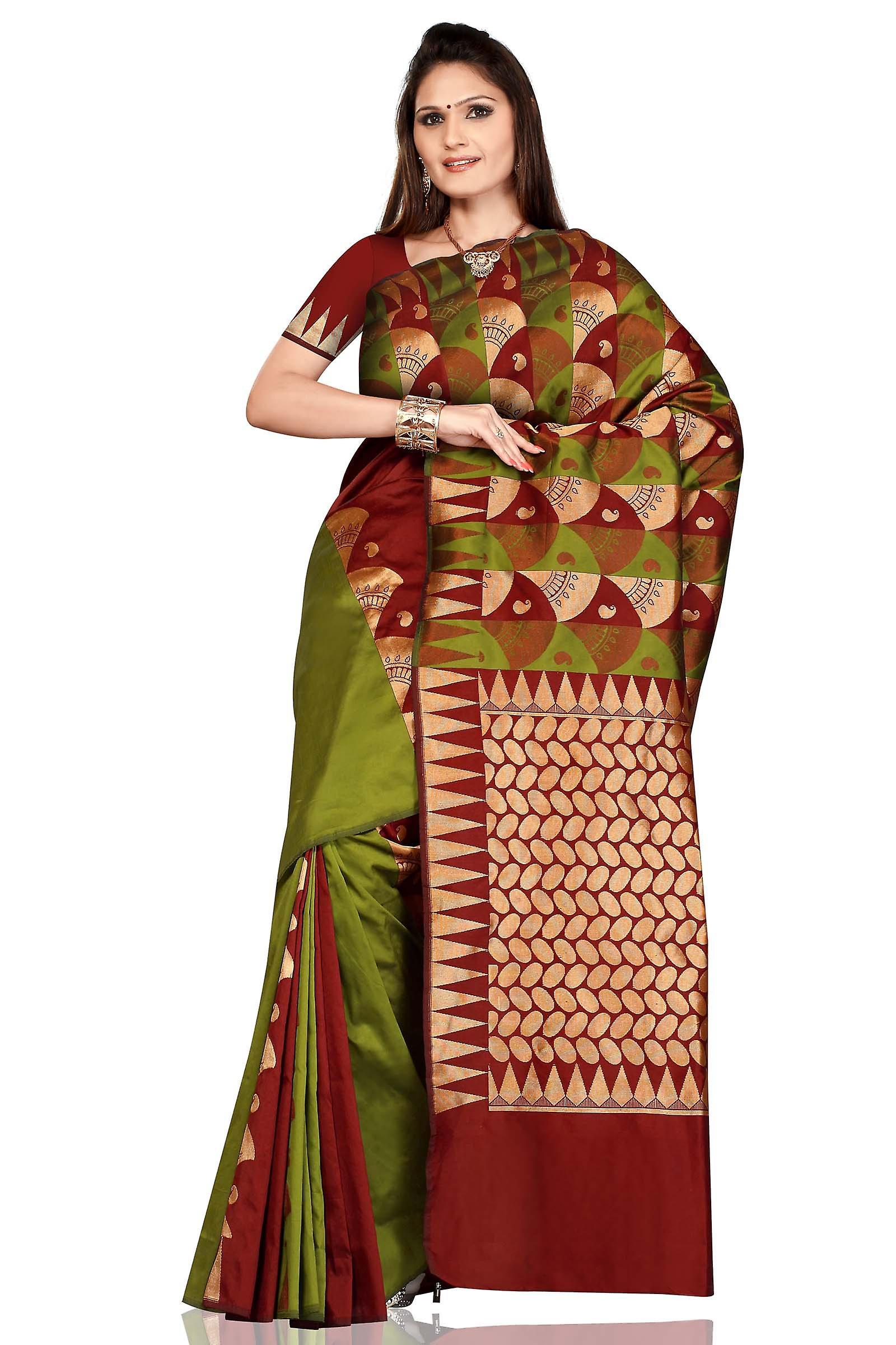 Verde oliva con impacco bellydance Maroon arte seta Sari Saree