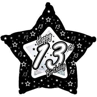 Creative Party Happy 13th Birthday Black/Silver Star Balloon
