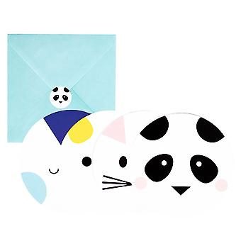 MINI ANIMALS Dog Panda Penguin Childresn Party Invites Pack of 8
