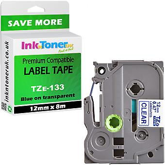 Compatible Brother PT-H101C Label Tape TZe133 blue-clear 12x8