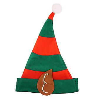 Childrens Festive Elf Christmas Red & Green Hat With Ears & Bobble