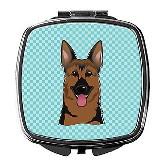 Carolines Treasures  BB1149SCM Checkerboard Blue German Shepherd Compact Mirror