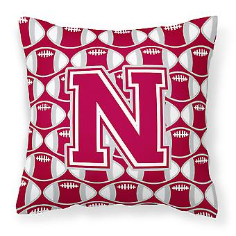 Letter N Football Crimson, grey and white Fabric Decorative Pillow