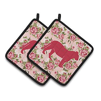 Tiger Shabby Chic Pink Roses   Pair of Pot Holders
