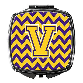 Carolines Treasures  CJ1041-VSCM Letter V Chevron Purple and Gold Compact Mirror