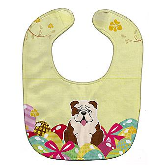 Easter Eggs English Bulldog Brindle White Baby Bib