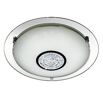 Searchlight 2773-31 LED Chrome and Mirrored Glass Flush Ceiling Light