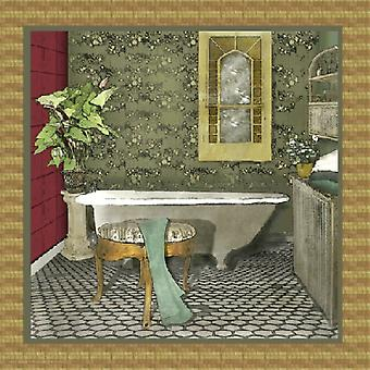 Bathroom In Green II Poster Print by Lenny Karcinell (12 x 12)