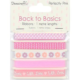 Dovecraft Back To Basics Ribbon Pack 5/Pkg-Perfectly Pink DCRBN027