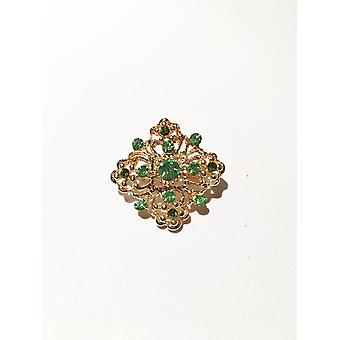 Gold and Bright Green Brooch