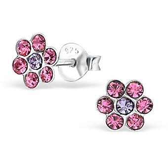 Flower - 925 Sterling Silver Crystal Ear Studs - W22953x