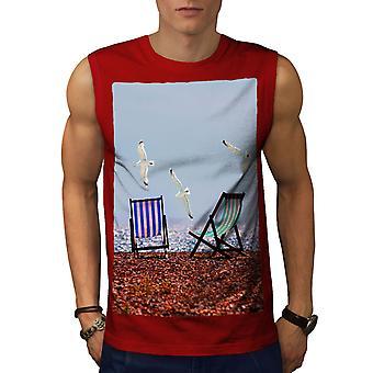 Seagull Sea Photo Men RedSleeveless T-shirt   Wellcoda