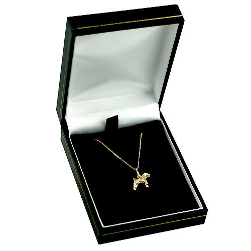 9ct Gold 10x12mm Airedale Terrier Pendant with a curb Chain 16 inches Only Suitable for Children