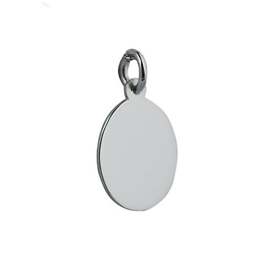 Silver 17x14mm oval plain Disc