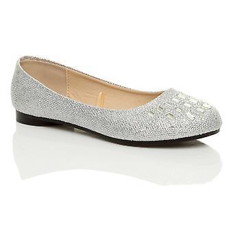 Ajvani womens flat low heel slip on diamante glitter ballerina dolly shoes pumps