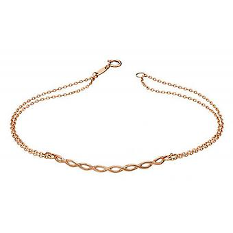 Elements Gold Plait Double Chain Bracelet - Rose Gold