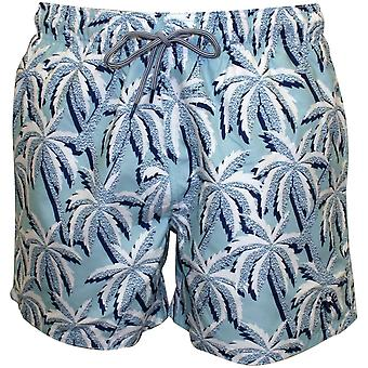 Ted Baker Large Palms Print Swim Shorts, Light Blue