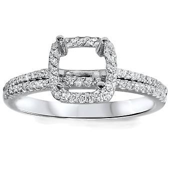 3/8ct VS1 Diamond Engagement Semi Mount White Gold Ring Set