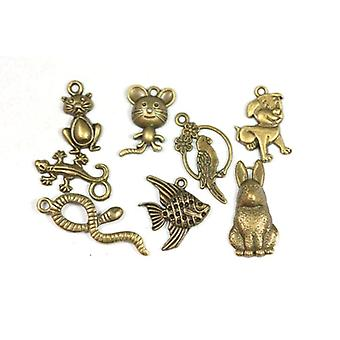 8 x Steampunk Antique Bronze Tibetan 20-35mm Pets Charm/Pendant Set ZX17910