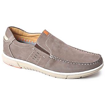 Mens Leather Nubuck Smart Leisure Slip On Twin Gusset Casual Shoes