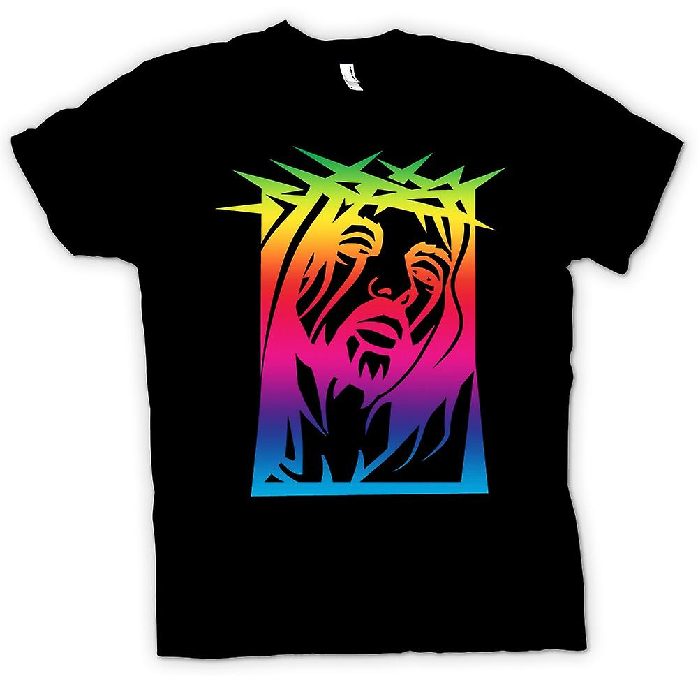 Mens T-shirt - Jesus Christ - Thorny Crown - Rainbow
