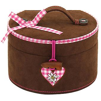 Jewelry box costume jewellery box velour with Brown karierter cotton