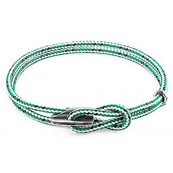 Anchor and Crew Padstow Silver and Rope Bracelet - Green Dash
