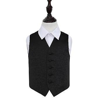 Black Swirl Wedding Waistcoat for Boys