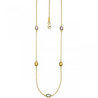 Necklace necklace chain 585 Gold Yellow Gold 2 amethysts 2 citrine 1 Blue Topaz