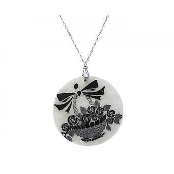 Gemshine - ladies - necklace pendant - Locket - mother of Pearl - FLOWER BASKET - 925 Silver - Black - White - 5 cm