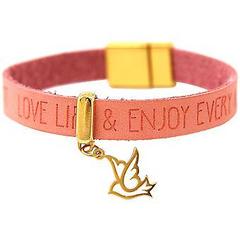 Gemshine - guldpläterade damer armband - fred dove - - wing - 925 Silver - guldpläterad - önskemål - rosa rosa - magnetlås