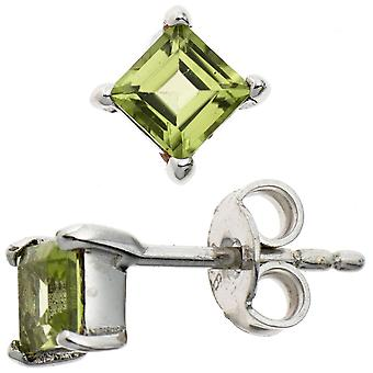 Ear plug square green 925 sterling silver rhodium plated 2 Peridote earrings silver