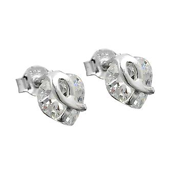 Heart Earrings heart plug earring silver heart cubic zirconia 925 sterling silver