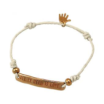 Women - bracelet - engraved - ALL WE NEED IS LOVE - rose gold plated - nude