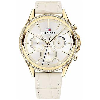 Tommy Hilfiger Womens Beige Leather Gold Plated Crystal Set Multifunction 1781982 Watch