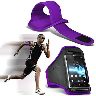 ONX3 (Dark Purple) Adjustable Sweatproof/Water Resistent Sports Fitness Running Cycling Gym Armband Phone Case For Ulefone U008 Pro [ XXL ]