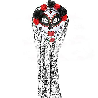 Mask Mexican day of the dead veil flowers bridal of horror Halloween