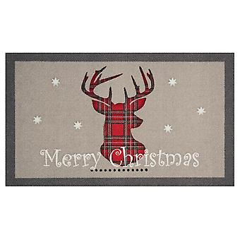 Doormat dirt trapping pad Merry Christmas Reindeer Grau red 45 x 75 cm