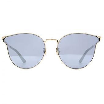 McQ by Alexander McQueen Metal Cateye Sunglasses In Gold Silver Mirror