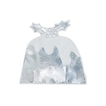 Silver Foiled Christmas Pudding Napkin - 12 Pack Xmas Table