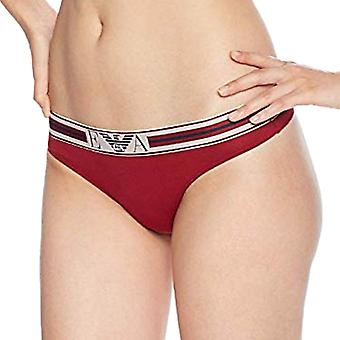 Emporio Armani Women Visibility Pop Lines Stretch Cotton Thong, Rhubarb, X-Small