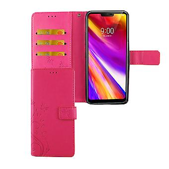 LG G7 ThinQ Handy-Hülle Schutz-Tasche Cover Flip-Case Kartenfach Pink