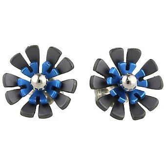 Ti2 Titanium Black zurück zehn Blütenblatt Blume Ohrstecker - Marineblau
