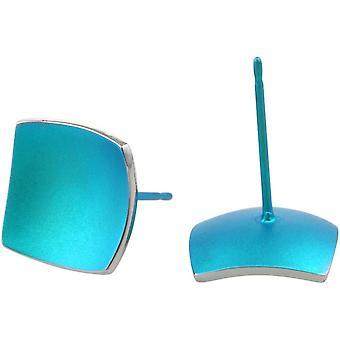 Ti2 титана квадратные купольные серьги Стад - голубой зимородок